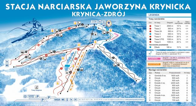 Map tras narciarskich jaworzyna krynicka
